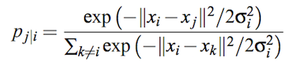 入力データ間の類似度p_{j|i}
