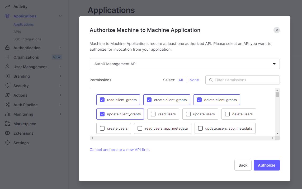 Auth0 Management APIのPermissionを付与